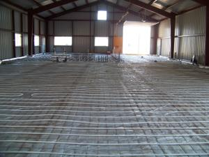 Radiant Tubing installed before Floor is poured