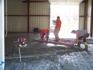 Floor being poured by Wagner Masons